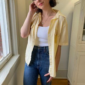 Vintage Yellow Button Up Oversized Blouse  ✨
